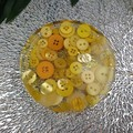 Round Small Coasters - Yellow Buttons - Drink or a Paperweight - SINGLE- Resin