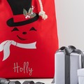Santa Sack Snowman - Red with Holly
