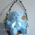 Teddy On a Fairy Light Swing - Blue Teddy & Blue Fairy  Lights
