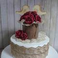 "Rustic Antique Lace & Burgundy Roses ""We Do"" Wooden Birds Wedding Cake Topper"