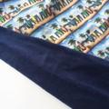 Surfboard print navy blanket