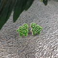 Cookie Tree - Christmas White and Green - Stud Earrings