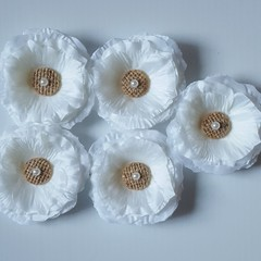 Shabby Chic Style Pearl & Burlap Button Flowers