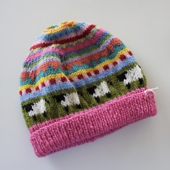 Pink 'Sheep' Beanie - to fit approx size 3-8 years - hand knitted