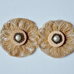 Rustic Burlap Loop & Antique Pearl Flowers