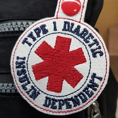 Type 1 Diabetes Insulin Dependent Bag Tag Keyring Key Tag white vinyl