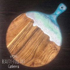 Blue, Mint and Silver Drip Acacia Wood and Resin Cheeseboard/Serving Board