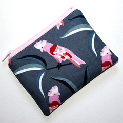 Small Coin Purse in Pink and Grey Cockatoo Fabric