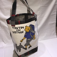 Tote Bag featuring TinTin in Vietnam with Snowy - unique lined bag