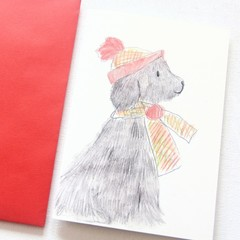 4 Junior Artist Christmas Art Card Carol the Dog