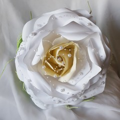 Elegant Pearl Giant Paper Rose Flower Wedding Bouquet