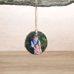 Small Hanging Wood Slice Photo Ornament - Single Side