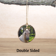 Small Hanging Wood Slice Photo Ornament - Double Sided