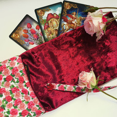 Red Rose and Velvet Tarot Bag and Reading Cloth - Lenormand Card Holder