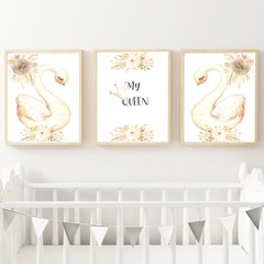 "'My Queen"" Swan set of 3 Digital Download A3"