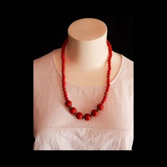 Hand Painted Wood Bead Necklace in Red