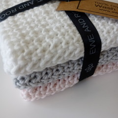 100% Organic Cotton Hand Wash Cloth Set