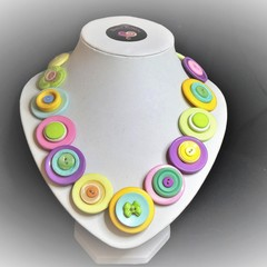 Colourful Button necklace - Perfectly Pastel