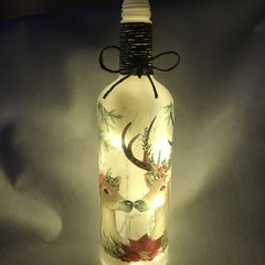 Decorated Christmas bottle  with string light