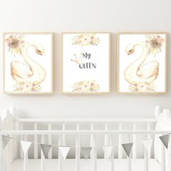 "'My Queen"" Swan set of 3 Digital Download size A4"