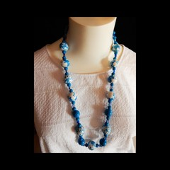 Blue & White Hand Painted Wood Bead Necklace