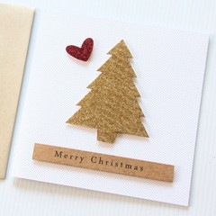 Gold Glitter Christmas Card, Handmade Luxury Christmas Card, Merry Christmas