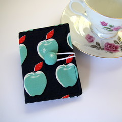Tea Bag Wallet - Apples on Navy Blue