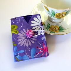 Tea Bag Wallet - Flowers on Purple