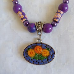 Purple and Orange Mosaic Necklace