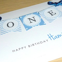 Boys 1st Birthday Card - ONE - personalised!