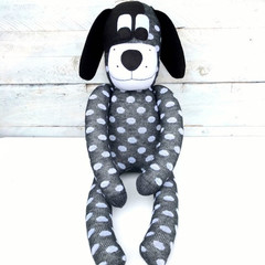 'Drew' the Sock Dog - dark grey with white spots - *READY TO POST*