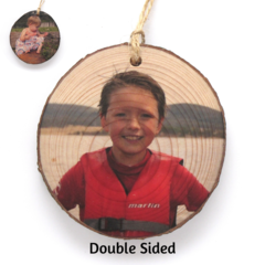 Personalised Wood Slice Photo Ornament - Double Sided