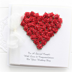 Personalised Wedding card keepsake boxed roses heart red bride groom