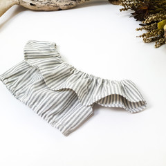 Grey Striped Linen Off The Shoulder Crop Top - Tween Girls Boho Midriff