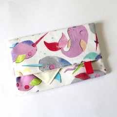 Travel Tissue Case, Pocket Tissue Holder - Candy Narwhals
