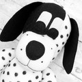 'Dotty' the Sock Dog - white with black spots - *READY TO POST*