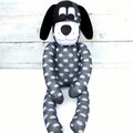 'Drew' the Sock Dog - dark grey with white spots - *MADE TO ORDER*
