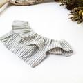 Grey Striped Linen Off The Shoulder Crop Top - Tween Girls Boho Midriff
