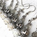 Opaque White Gold Rose Bead Dangle Earrings