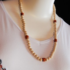 Natural Wood Bead Necklace