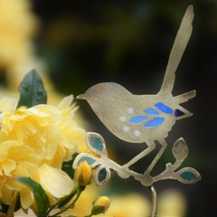 Brass & Resin Fairy Wren Garden Decoration
