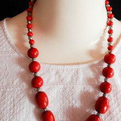 Hand Painted Wood Bead Necklace in Rich Red