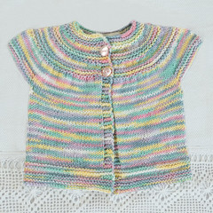Baby cardigan with short sleeves:   newborn - 9 months