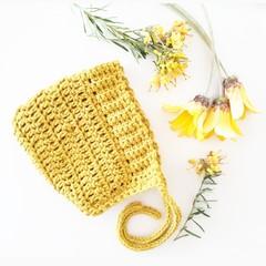 Mustard Baby Bonnet sized 0-6months  Organic Cotton