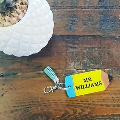 PERSONALISED PENCIL KEYRING - BLUE