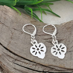 Delicate Dangle Daisy earrings, Sterling Silver. Upcycled from Silverware.