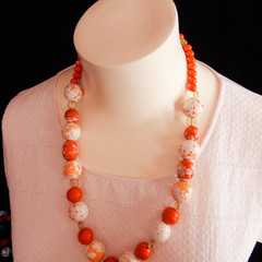 Hand Painted Wood Bead Necklace in Orange
