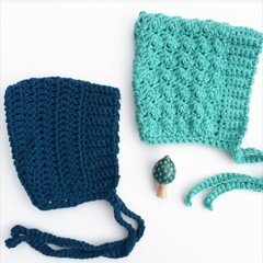 Teal Baby Bonnet Sized 0-6 months Organic Cotton