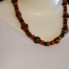 Natural Wood Bead Necklace in Browns
