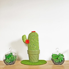 Crochet Cactus with Orange Flowers